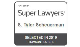 Rectangular rating stamp of Super Lawyers for S. Tyler Scheuerman